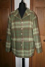 Women's Wool Tartan Plaid Field Jacket Barn Coat XL Green/Pink EUC Rancher