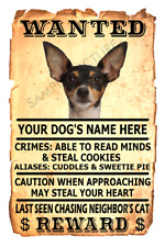Toy Fox Terrier Dog Wanted Poster Flex Fridge Magnet Personalized Name