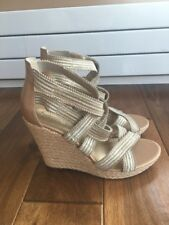 Jessica Simpson Beige Strappy Wedge Espadrilles Sandals Shoes Stretch Size 9.5