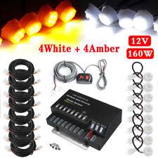 160W 8 LED Bulbs Hide Emergency Hazard Warning Flash Strobe Light Amber+White