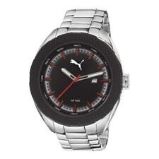 Puma Men's PU103261002 Silver Stainless Steel Band Black Dial Analog Watch