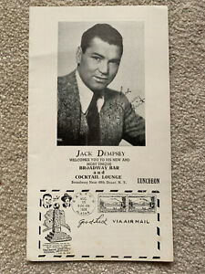 JACK DEMPSEY SIGNED MENU BROADWAY BAR AND COCKTAIL LOUNGE NEW YORK LUNCHEON