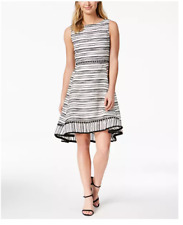 NEW Women's Taylor Textured-Stripe Fit Flare Dress White Size 8