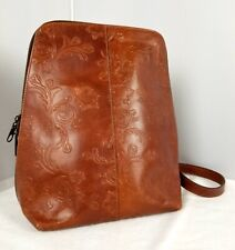 Women's MESACE Colombia Tooled Saddlery Brown Leather Backpack Tote Bag Purse