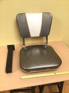 VTG Authentic McDonalds Metal Flake Swivel Chair Retro Stool Bench Seat Gray