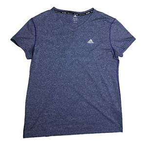 Adidas Size XL Climalite V-Neck Athletic Tee Short Sleeve Heathered Purple