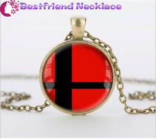 Super Smash Bros Ball red and Black bronze necklace for women men Jewelry#T28