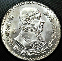LARGE Brilliant Uncirculated Silver Mexico UN PESO Coin! Mexican Un Peso! ~>