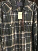 NWT $79.50 Lucky Brand Men's LS Western Pearl-Snap Vintage Style Shirt Small
