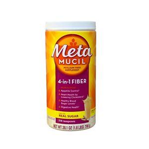 Metamucil Fiber 4-in-1 with Real Sugar + Unflavored Psyllium Powder New 03/2024