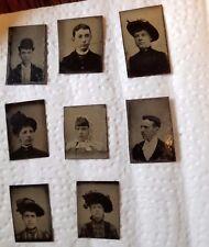 ANTIQUE TIN-TYPE PHOTOGRAPH PHOTO LOT: VARIOUS SIZES  OF MEN & WOMEN  1800s