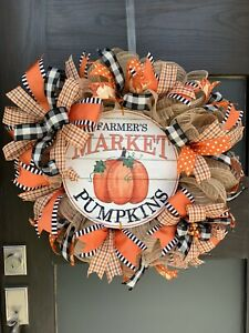 Fall Wreath Thanksgiving Decor Farmers Market Burlap For Front  Door