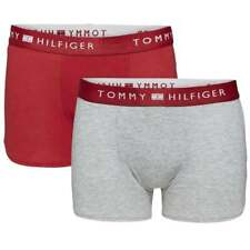 Tommy Hilfiger Boys 2 Pack Modern Classic Cotton Stretch Boxer Trunk, Red / Grey