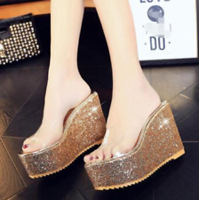 Womens Wedge Heel Slippers Clear Transparent Open toe Platform Shoes Sandal Sexy