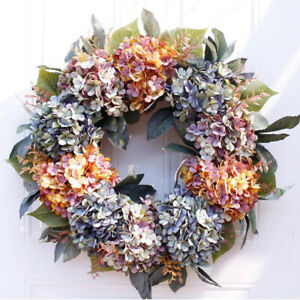 """Artificial Hydrangea Wreath, 22"""" Large Round Wreath for Front Door Wingow Wall"""