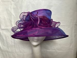 HAT Large Organza Wedding Races Summer Occasion Mother of the Bride Pink/Purple