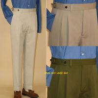 Naples Pants Men's Cotton High Waist Trousers Double Pleated Paris Button Pants