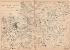 FRANCO-PRUSSIAN WAR. Battle of Le Mans, January 11th 1871. Sarthe 1875 old map