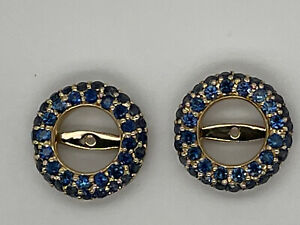 """14k yellow gold 1.6 ct tw 1/2"""" wide blue sapphire round earring jackets"""