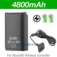 Battery & Charger Cable For Microsoft Xbox 360 Wireless Controller Black