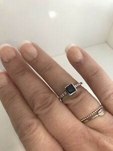 Sterling Silver & Deep Blue C Z Square Solitaire Ring 925 Size N 1/2