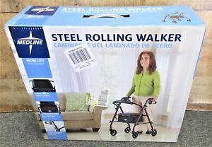 """Medline Steel Rollator Walker, Folding Rolling Walker, 6"""" Wheels, 350lb Weight"""