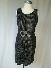 NWT CHARLOTTE RUSSE Sheath Black Polkadot Tweed Dress SZ L blk sleeveless #A220