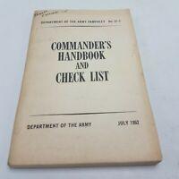 Korean War Era Army Pamphlet Commanders Handbook and Checklist 22-2 July 1952