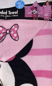 Disney MINNIE MOUSE PINK KIDS Hooded Bath Towel NEW
