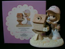 New ListingPrecious Moments-Girl Carpenter Building Birdhouse-My Gifts Bring Happiness