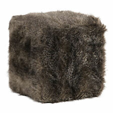 Shaggy Faux Fur Plush Cube Ottoman | Charcoal Gray Brown Square Bench Midcentury