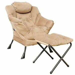 Velvet Fabric Lazy Reclining Chair with Removable Metal Beige With Ottoman