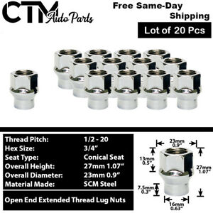 20Pc CHROME 1/2-20 OPEN END EXTENDED THREAD ET LUG NUTS FIT DODGE/JEEP/MORE