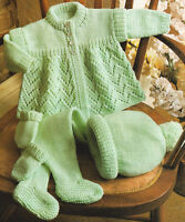 "Matinee Eyelet Baby Coat Hat Mitts & Leggings 16 - 18"" DK Knitting Pattern"