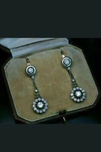 1.75 Ct Round Diamond Vintage Art Deco Drop Dangle Earrings 14K White Gold Over