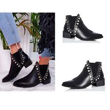 Womens Ladies Chelsea Ankle Boots Stud Low Block Heel Pointed Toe Pull On Shoes