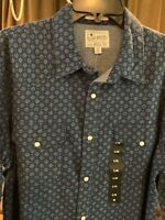NWT Lucky Brand Men's Medium LS Western Pearl-Snap Shirt Denim Blue Classic Fit