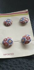 Set of 4 Vintage Carded Unusual 12 mm Pyscadelic Retro Shank Red/Blue Buttons