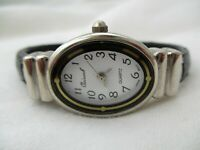 Osirock Watch Silver Toned Oval Shaped White Face Black Cuff Band WORKING!