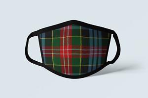 Clan Comyn Tartan Face Mask Scottish Family Plaid Covering Green Red Mask