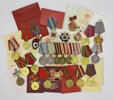 WW2 Russian USSR Medals Badges Service Book Etc NAMED Tank Regiment Commander