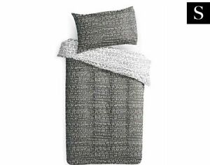 Delta Single Bed Comforter Set - Grey/White