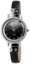 Damenuhr Schwarz Silber Analog Metall Leder Strass Armbanduhr D-60463614299500