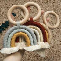 Baby Teething Beech Wood Round Ring Woven Rainbow Toy Pram Rattles Hanging Decor