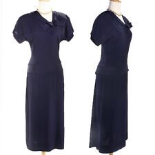 Navy Blue 40s Peplum Gown - Vintage Dress w Long Back Sash & Bow Detail - Sz S