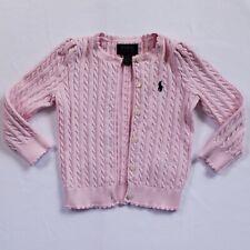 Polo Ralph Lauren Baby Girl 2T Pink Cardigan Sweater Ruffle