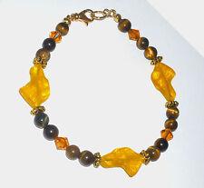 Designer Beaded Bracelet wCzech Glass Greyhound Head Beads, Tiger Eye, Swarovski