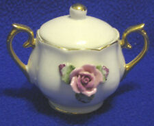 Small Porcelain Sugar Bowl w/Lid & 3D Rose-SHIPPING INC