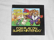 Super 3D Noah's Ark Super Nintendo INSTRUCTION BOOKLET SNES Manual Only noah