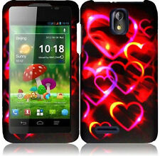 Cricket ZTE Engage LT N8000 Rubberized HARD Protector Phone Case Colorful Hearts